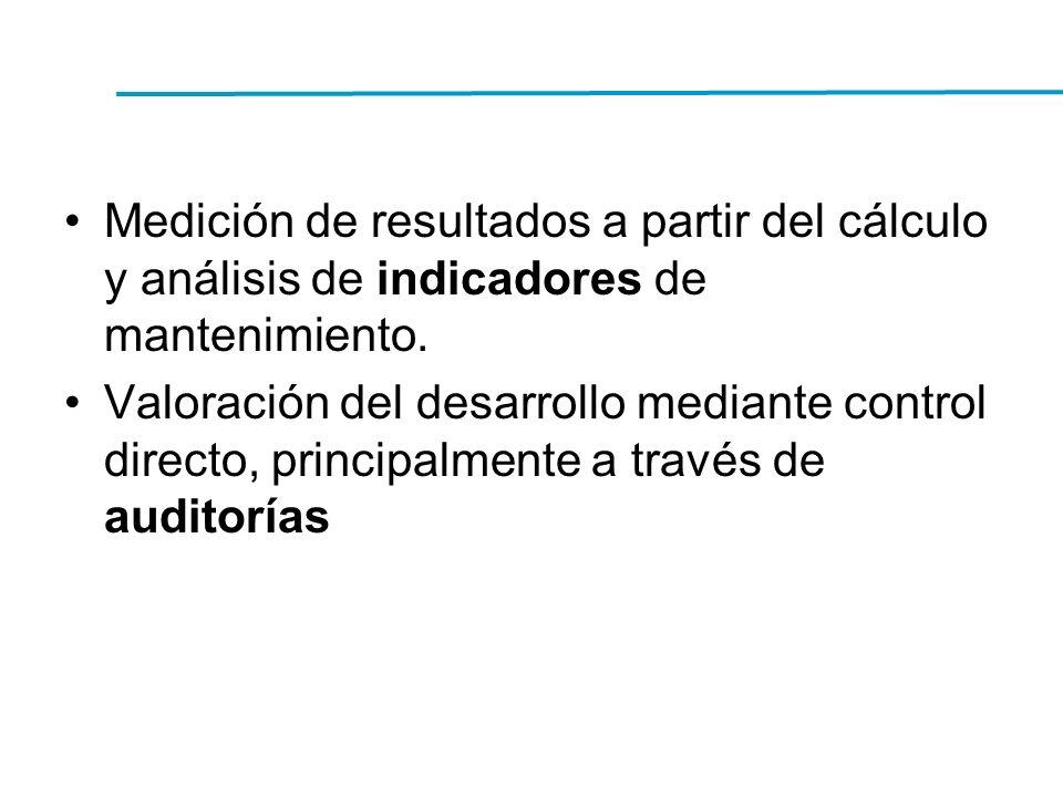 Medición de resultados a partir del cálculo y análisis de indicadores de mantenimiento. Valoración del desarrollo mediante control directo, principalm