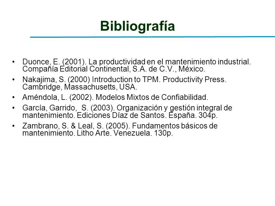 Bibliografía Duonce, E. (2001). La productividad en el mantenimiento industrial. Compañía Editorial Continental, S.A. de C.V., México. Nakajima, S. (2