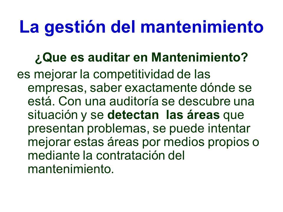 La gestión del mantenimiento ¿Que es auditar en Mantenimiento? es mejorar la competitividad de las empresas, saber exactamente dónde se está. Con una