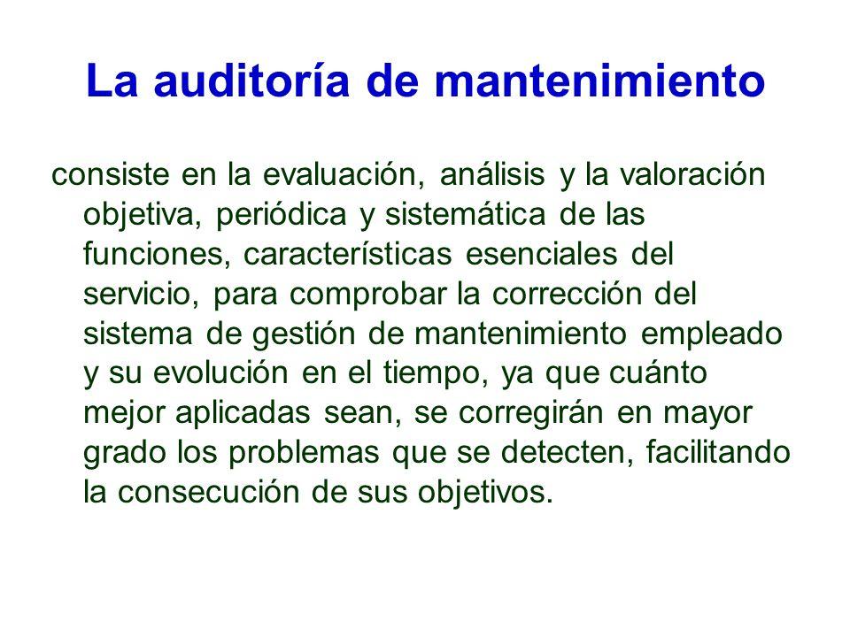 La auditoría de mantenimiento consiste en la evaluación, análisis y la valoración objetiva, periódica y sistemática de las funciones, características