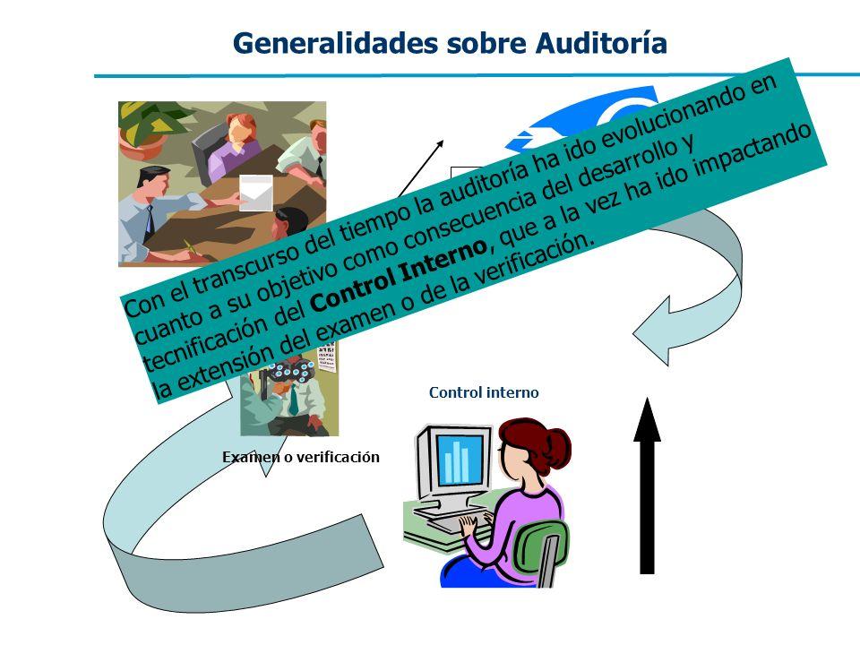 Generalidades sobre Auditoría Control interno Auditoría Examen o verificación Con el transcurso del tiempo la auditoría ha ido evolucionando en cuanto