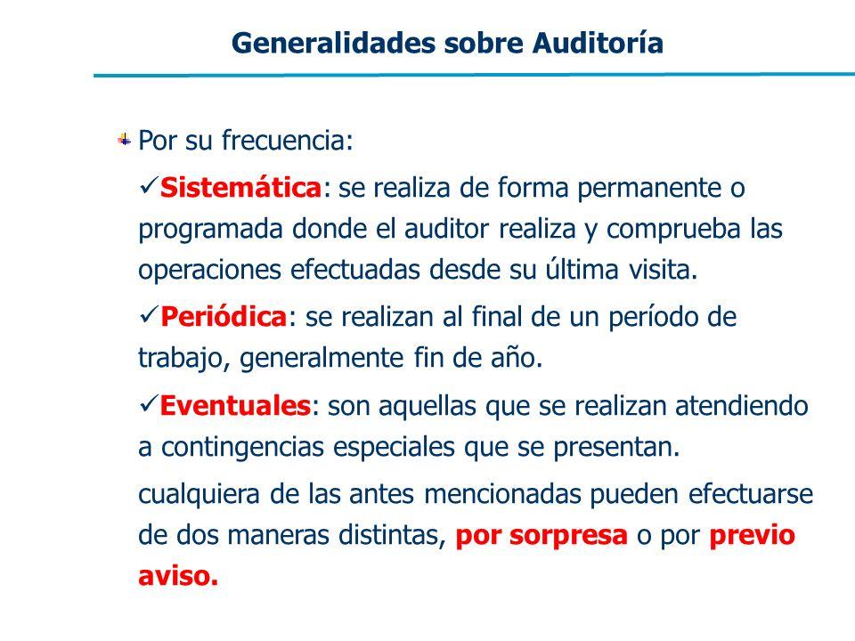 Generalidades sobre Auditoría Por su frecuencia: Sistemática: se realiza de forma permanente o programada donde el auditor realiza y comprueba las ope