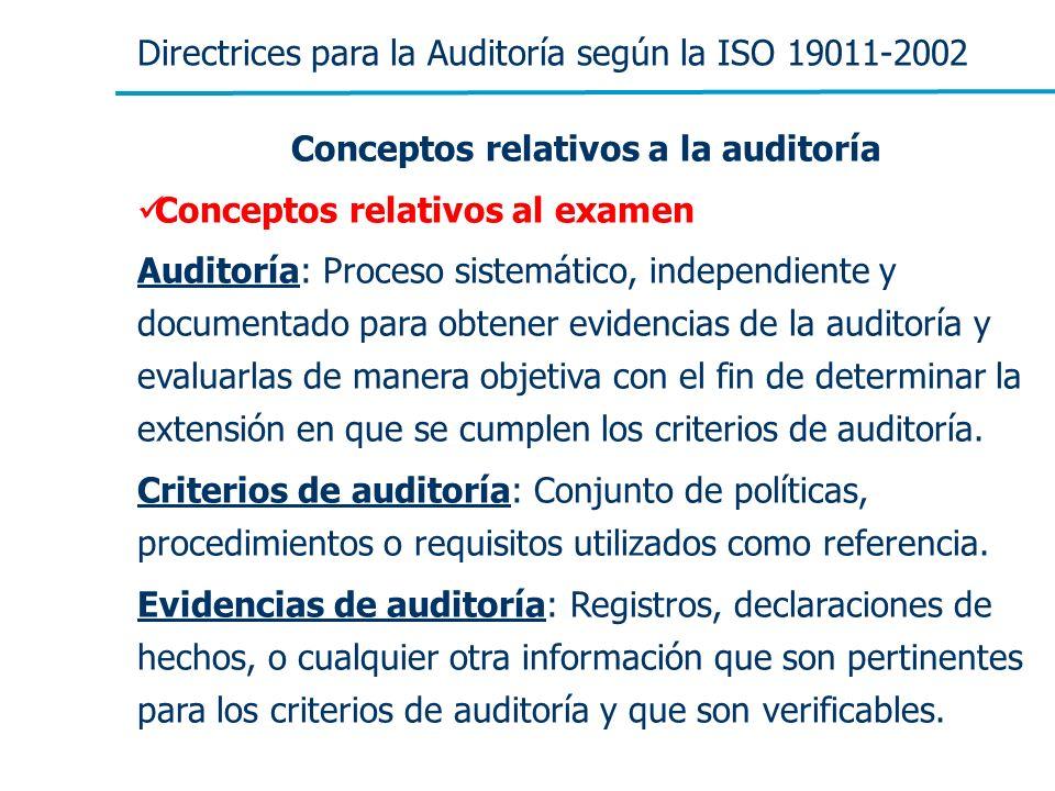 Directrices para la Auditoría según la ISO 19011-2002 Conceptos relativos a la auditoría Conceptos relativos al examen Auditoría: Proceso sistemático,