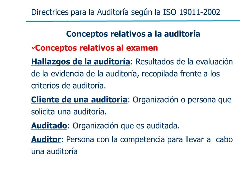 Directrices para la Auditoría según la ISO 19011-2002 Conceptos relativos a la auditoría Conceptos relativos al examen Hallazgos de la auditoría: Resu