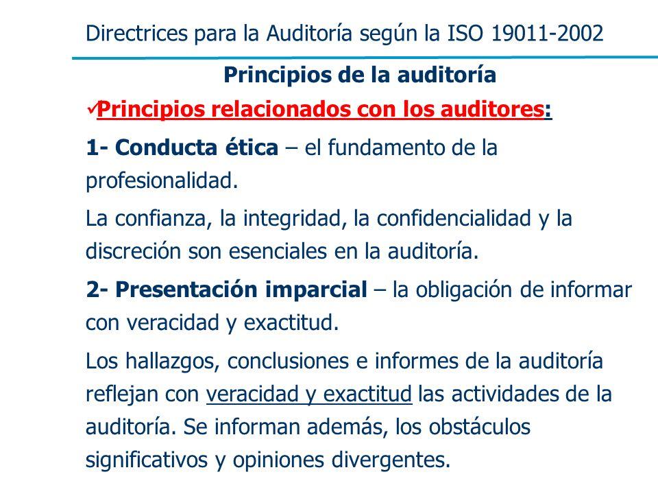 Directrices para la Auditoría según la ISO 19011-2002 Principios de la auditoría Principios relacionados con los auditores: 1- Conducta ética – el fun