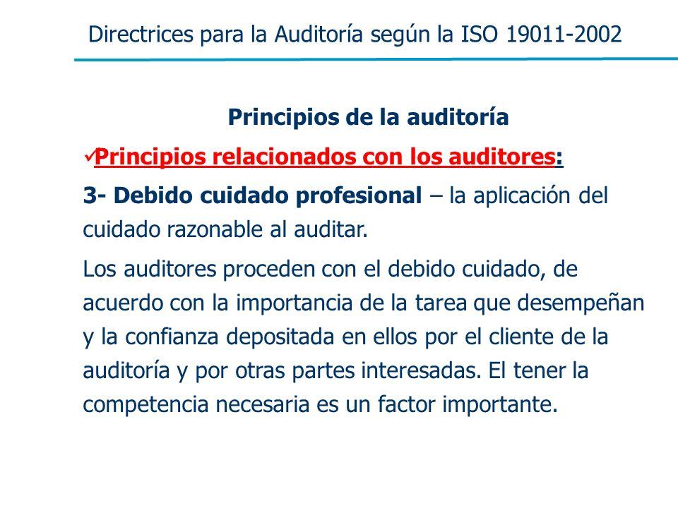 Directrices para la Auditoría según la ISO 19011-2002 Principios de la auditoría Principios relacionados con los auditores: 3- Debido cuidado profesio