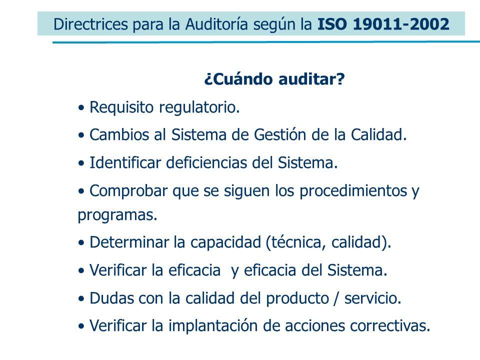 Directrices para la Auditoría según la ISO 19011-2002 ¿Cuándo auditar? Requisito regulatorio. Cambios al Sistema de Gestión de la Calidad. Identificar