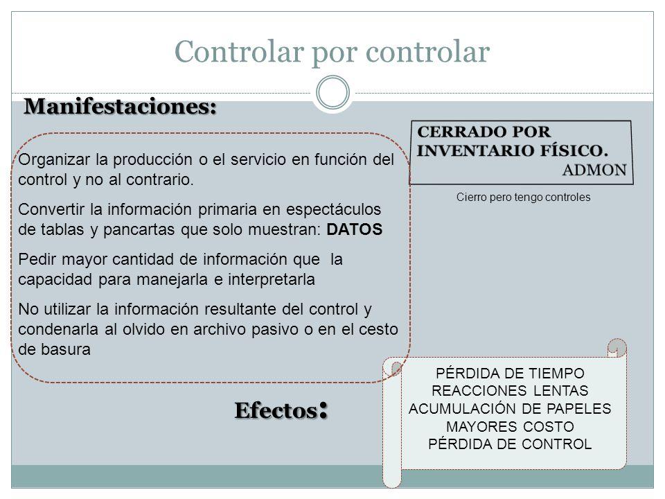 Controlar por controlar Cierro pero tengo controles Manifestaciones: Organizar la producción o el servicio en función del control y no al contrario. C