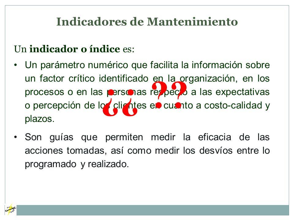 Un indicador o índice es: Un parámetro numérico que facilita la información sobre un factor crítico identificado en la organización, en los procesos o