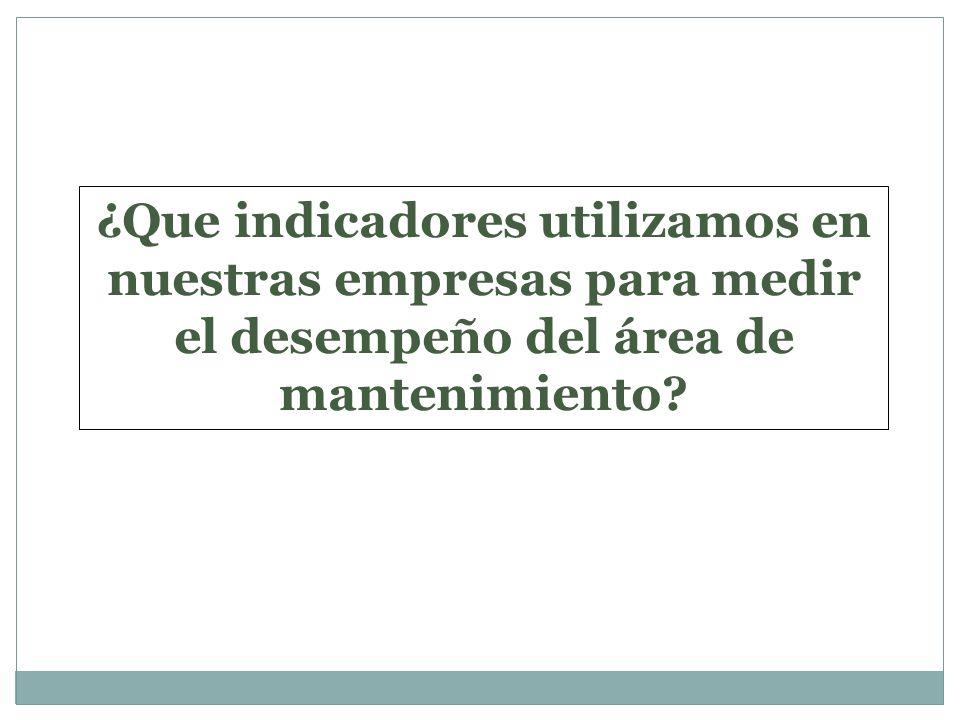 ¿Que indicadores utilizamos en nuestras empresas para medir el desempeño del área de mantenimiento?