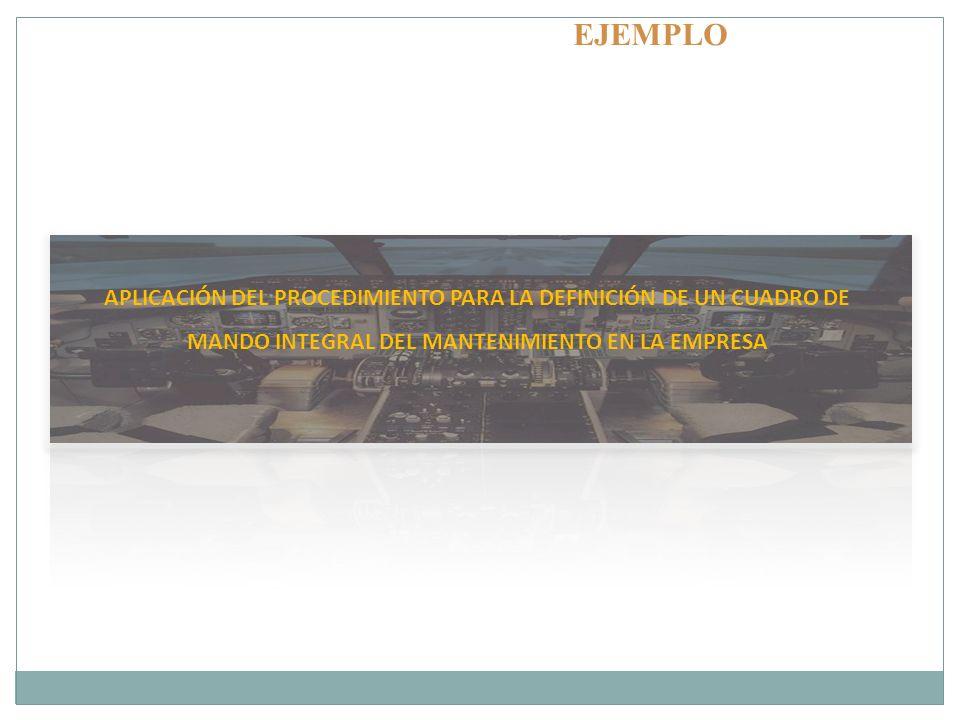 APLICACIÓN DEL PROCEDIMIENTO PARA LA DEFINICIÓN DE UN CUADRO DE MANDO INTEGRAL DEL MANTENIMIENTO EN LA EMPRESA EJEMPLO