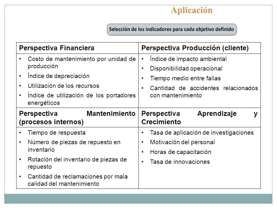 Aplicación Perspectiva FinancieraPerspectiva Producción (cliente) Costo de mantenimiento por unidad de producción Índice de depreciación Utilización d