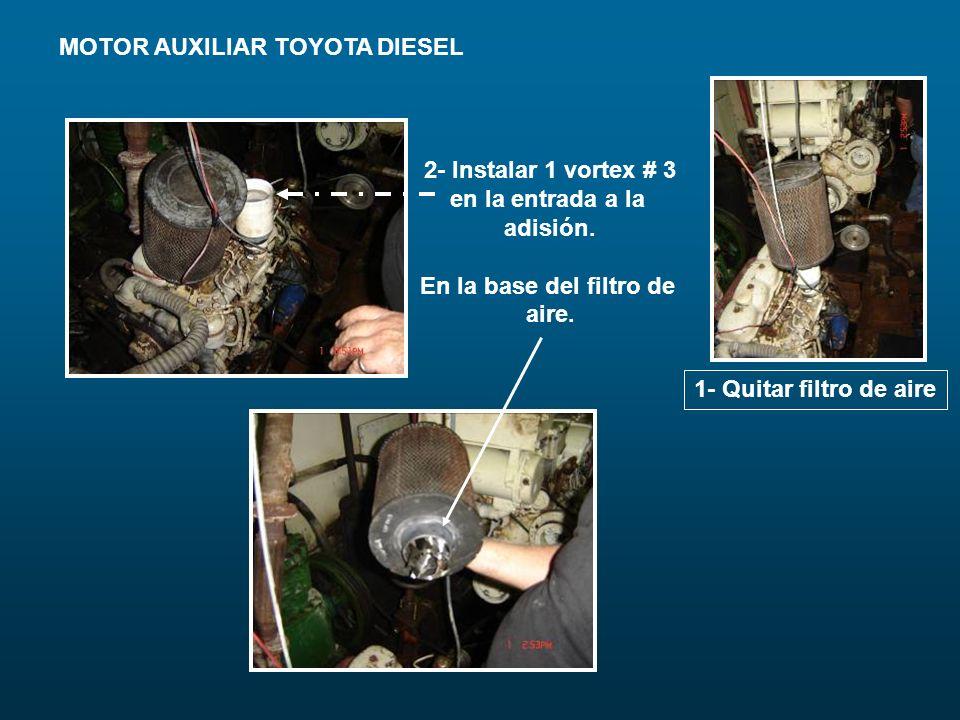MOTOR AUXILIAR TOYOTA DIESEL 1- Quitar filtro de aire 2- Instalar 1 vortex # 3 en la entrada a la adisión. En la base del filtro de aire.