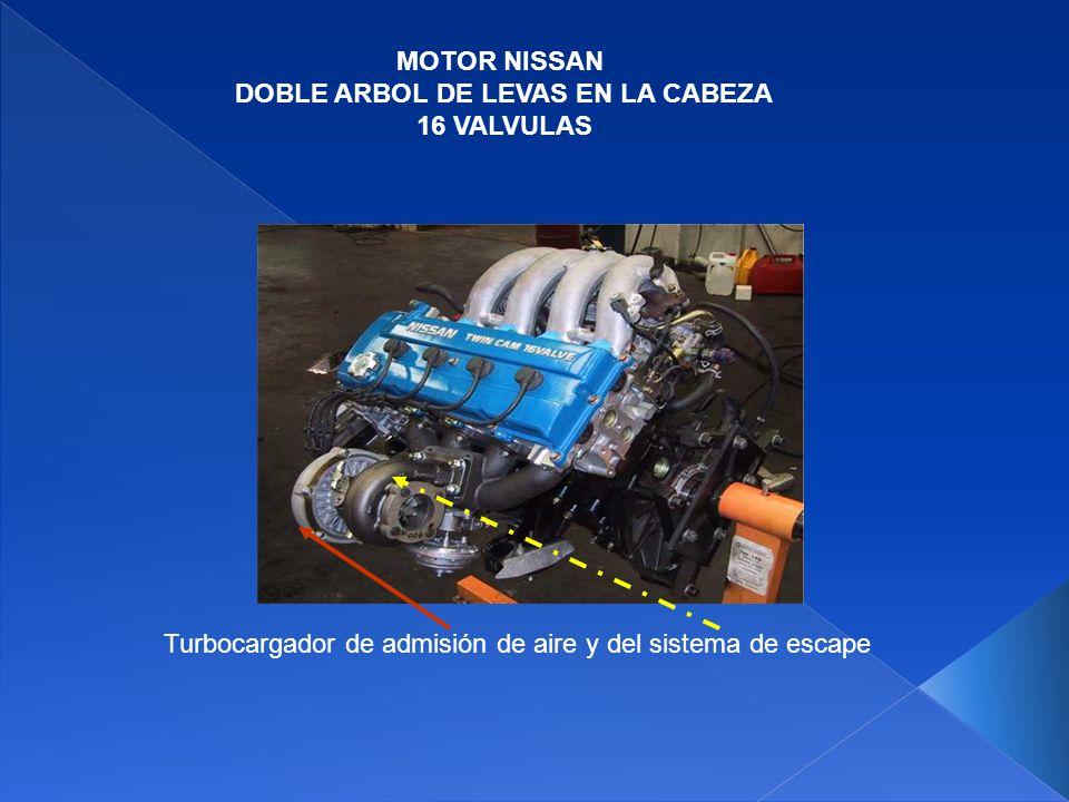 MOTOR NISSAN DOBLE ARBOL DE LEVAS EN LA CABEZA 16 VALVULAS Salida de aire al motor del turbocargador Entrada al sistema de admisión