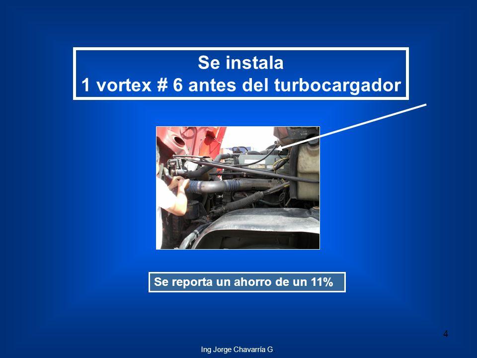 Se instala 1 vortex # 6 antes del turbocargador Se reporta un ahorro de un 11% 4 Ing Jorge Chavarría G.