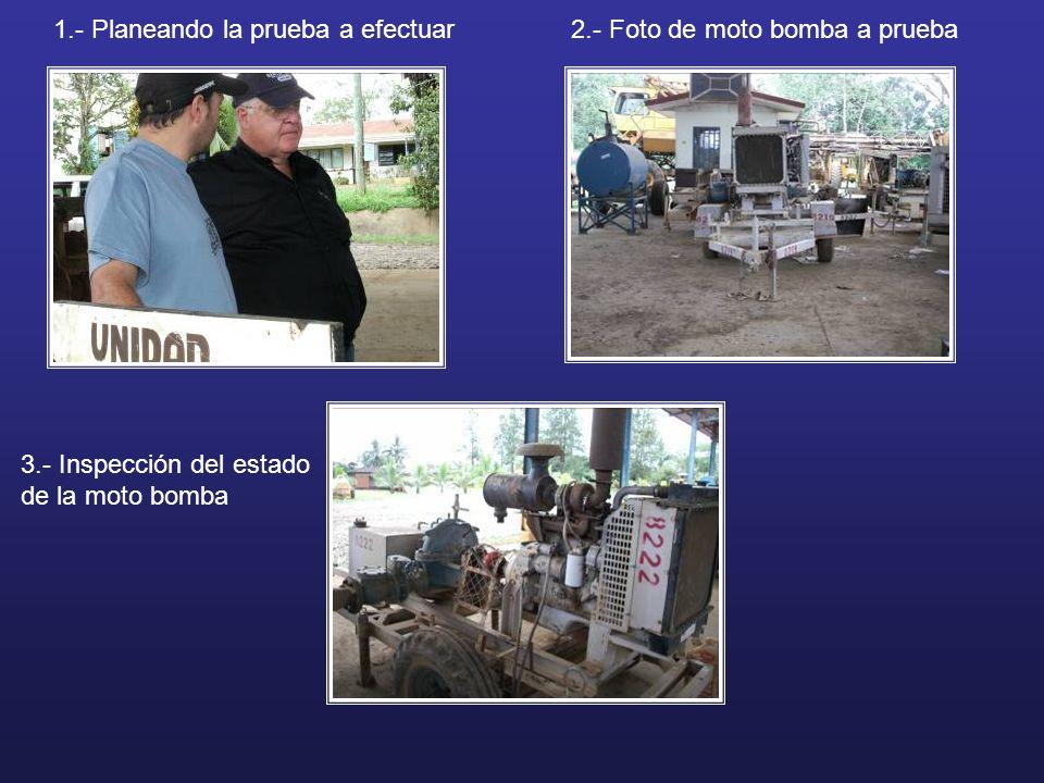 1.- Planeando la prueba a efectuar2.- Foto de moto bomba a prueba 3.- Inspección del estado de la moto bomba