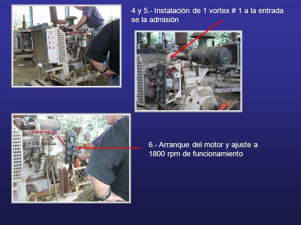 4 y 5.- Instalación de 1 vortex # 1 a la entrada se la admisión 6.- Arranque del motor y ajuste a 1800 rpm de funcionamiento