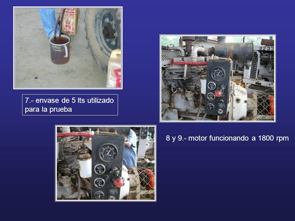 7.- envase de 5 lts utilizado para la prueba 8 y 9.- motor funcionando a 1800 rpm