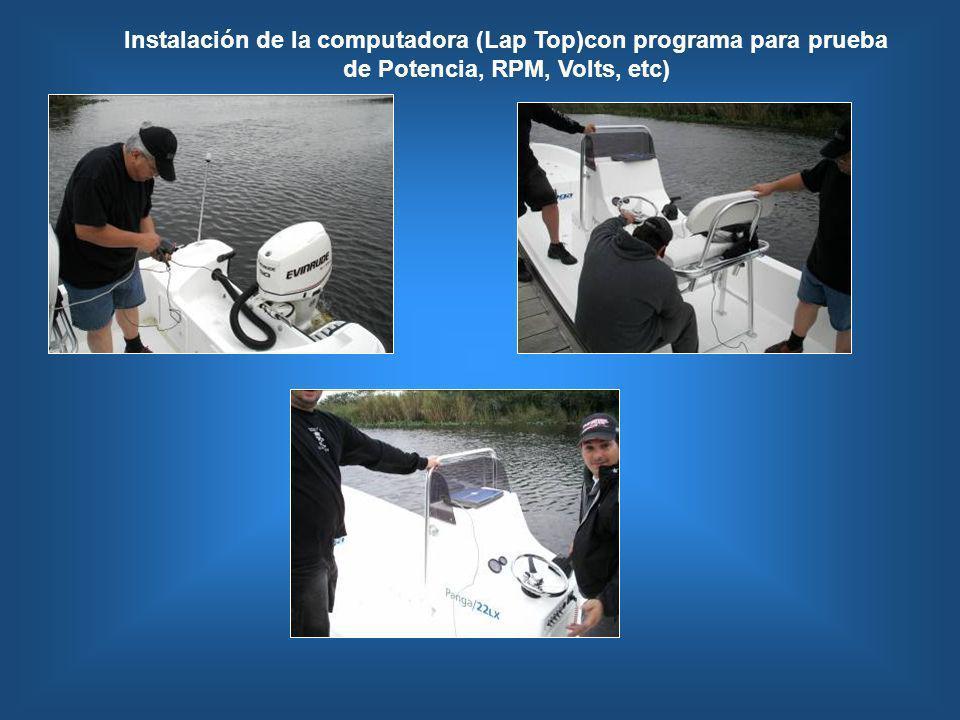Instalación de la computadora (Lap Top)con programa para prueba de Potencia, RPM, Volts, etc)
