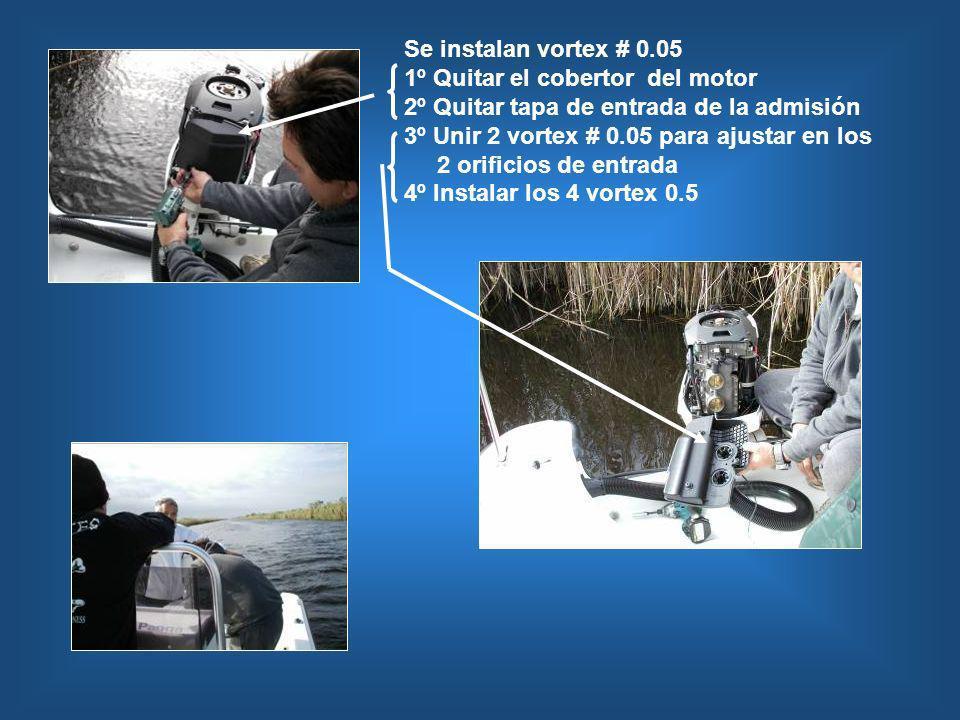 Se instalan vortex # 0.05 1º Quitar el cobertor del motor 2º Quitar tapa de entrada de la admisión 3º Unir 2 vortex # 0.05 para ajustar en los 2 orifi