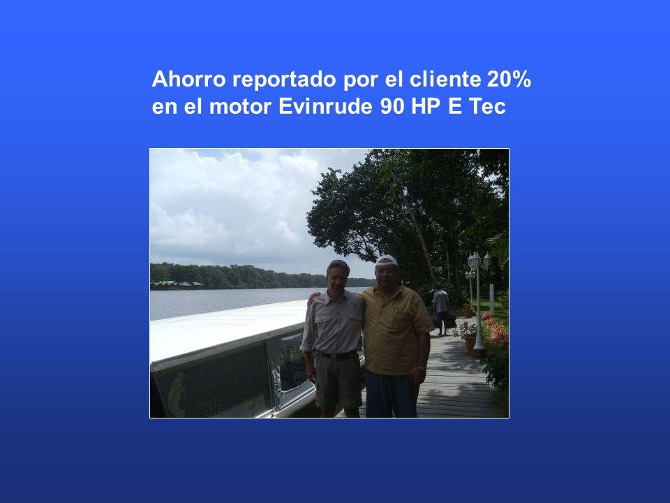 Ahorro reportado por el cliente 20% en el motor Evinrude 90 HP E Tec