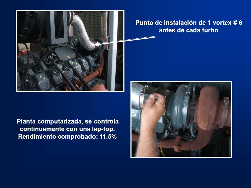 Punto de instalación de 1 vortex # 6 antes de cada turbo Planta computarizada, se controla continuamente con una lap-top. Rendimiento comprobado: 11.5