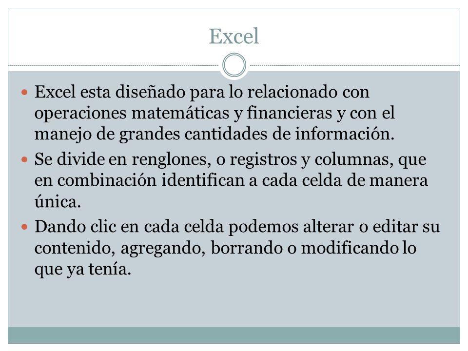 Excel Excel esta diseñado para lo relacionado con operaciones matemáticas y financieras y con el manejo de grandes cantidades de información. Se divid
