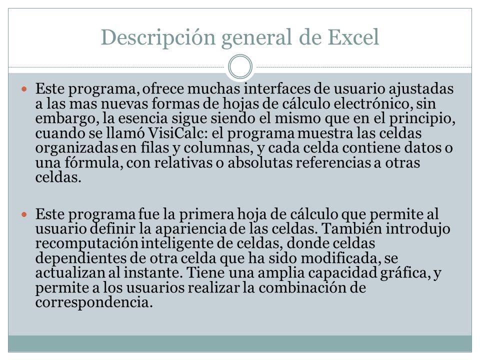 Descripción general de Excel Este programa, ofrece muchas interfaces de usuario ajustadas a las mas nuevas formas de hojas de cálculo electrónico, sin