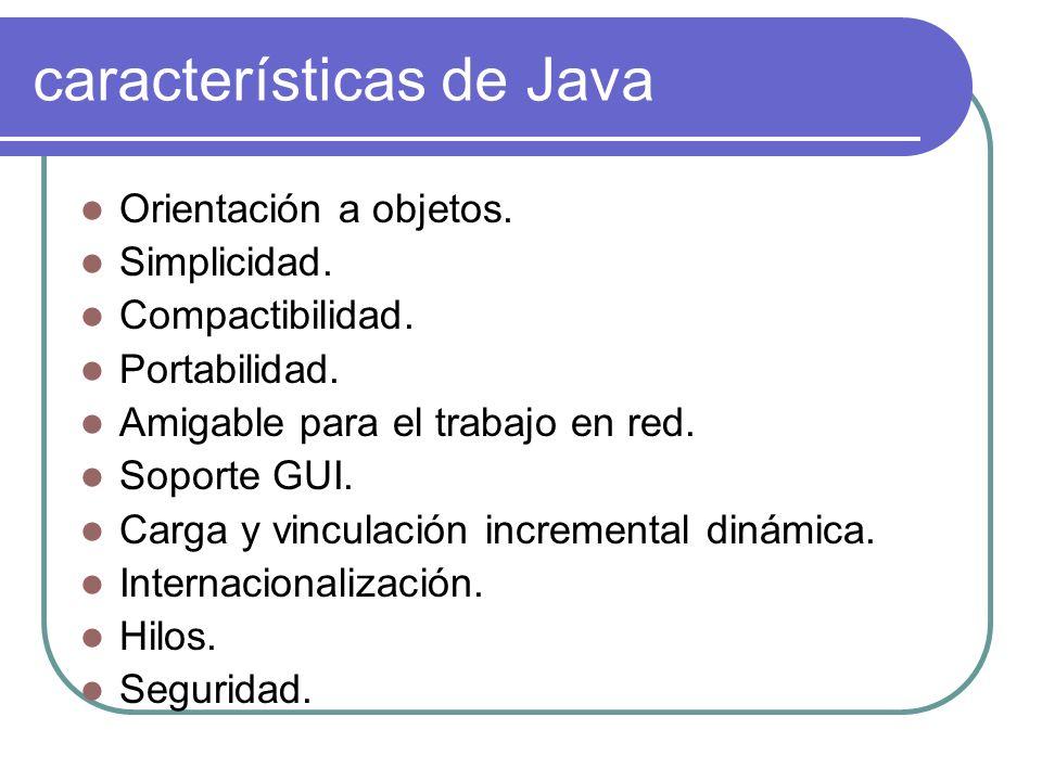 características de Java Orientación a objetos. Simplicidad. Compactibilidad. Portabilidad. Amigable para el trabajo en red. Soporte GUI. Carga y vincu