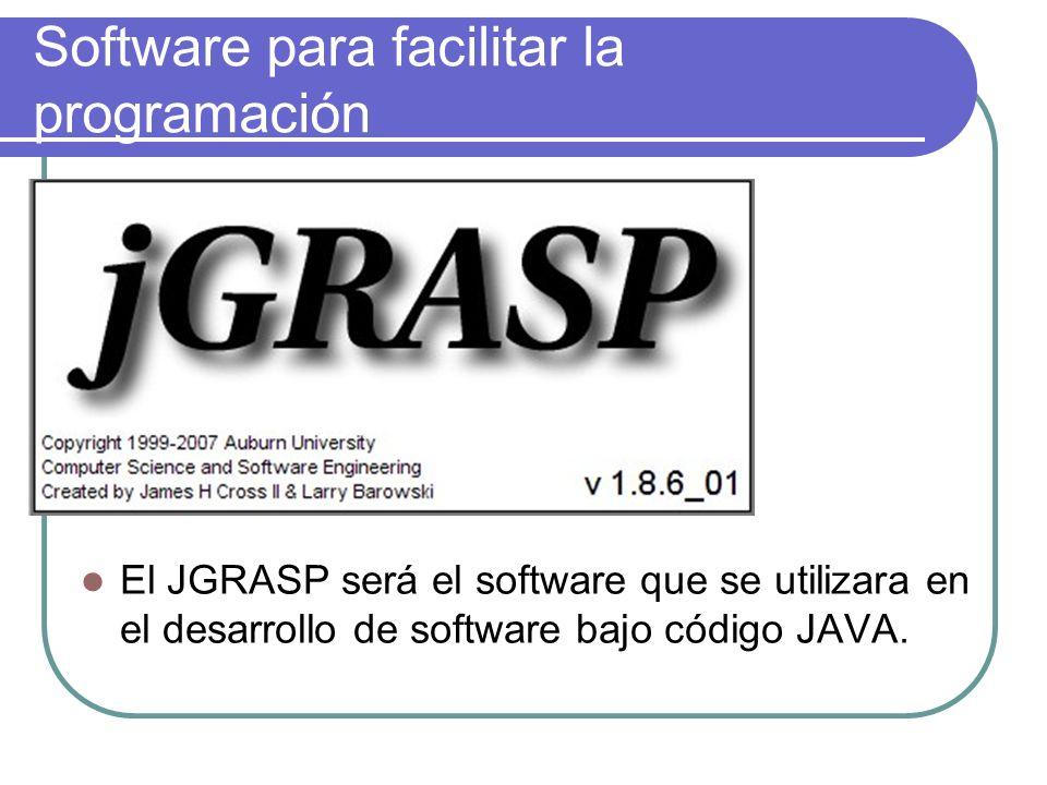 Software para facilitar la programación El JGRASP será el software que se utilizara en el desarrollo de software bajo código JAVA.