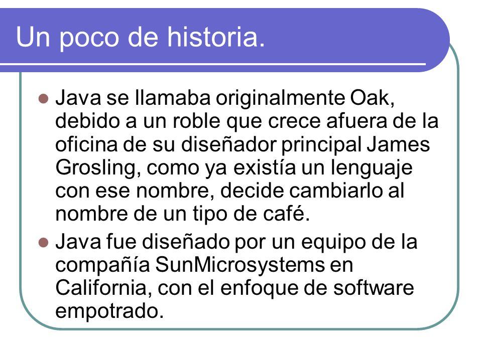 Un poco de historia. Java se llamaba originalmente Oak, debido a un roble que crece afuera de la oficina de su diseñador principal James Grosling, com