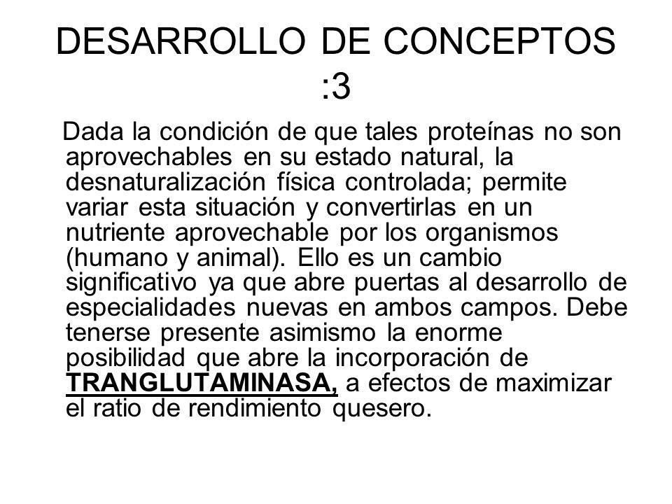 DESARROLLO DE CONCEPTOS :3 Dada la condición de que tales proteínas no son aprovechables en su estado natural, la desnaturalización física controlada;