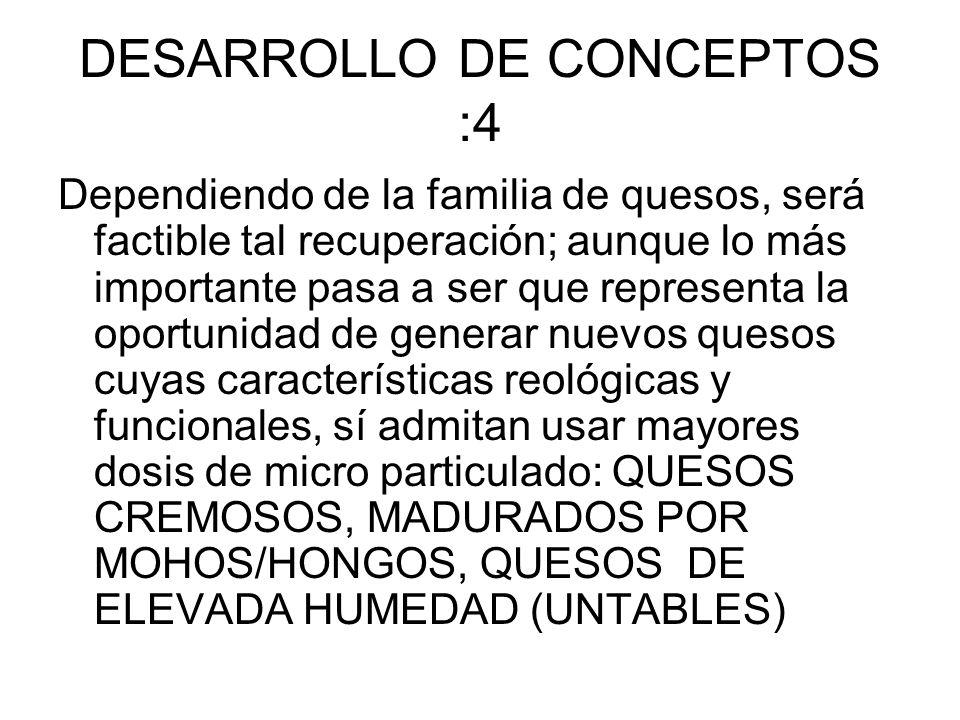 DESARROLLO DE CONCEPTOS :4 Dependiendo de la familia de quesos, será factible tal recuperación; aunque lo más importante pasa a ser que representa la