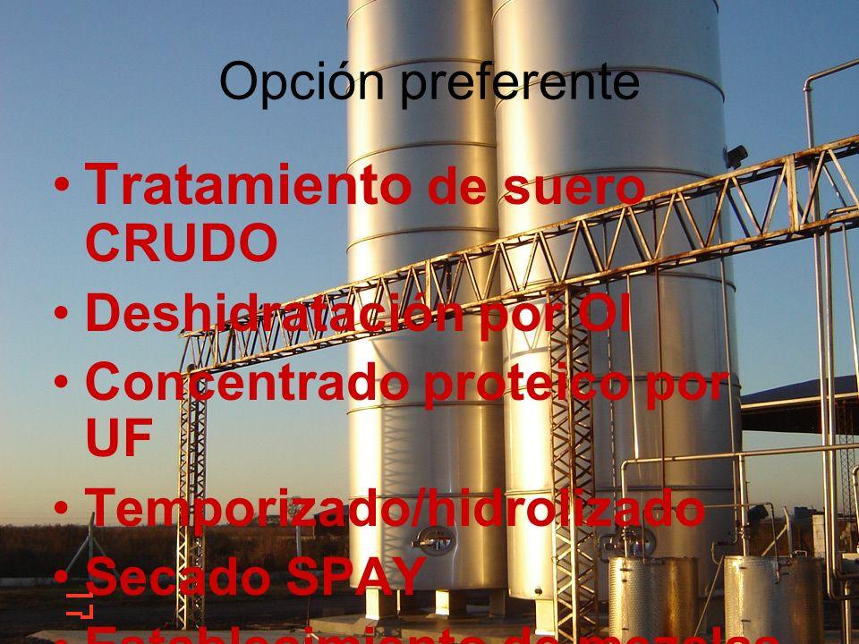 Opción preferente Tratamiento de suero CRUDO Deshidratación por OI Concentrado proteico por UF Temporizado/hidrolizado Secado SPAY Establecimiento de