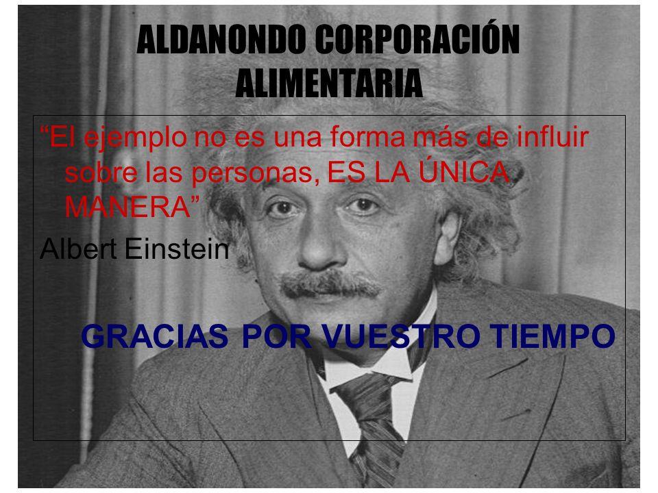 ALDANONDO CORPORACIÓN ALIMENTARIA El ejemplo no es una forma más de influir sobre las personas, ES LA ÚNICA MANERA Albert Einstein GRACIAS POR VUESTRO