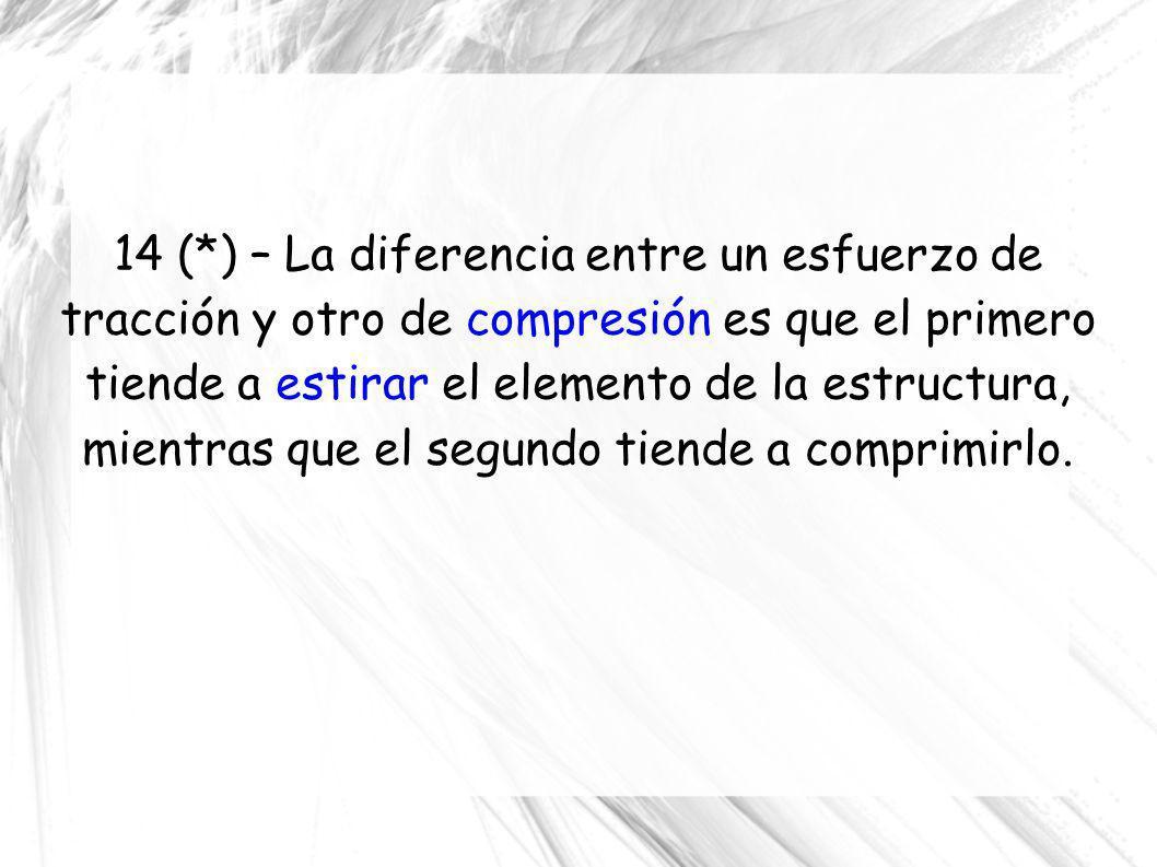 14 (*) – La diferencia entre un esfuerzo de tracción y otro de compresión es que el primero tiende a estirar el elemento de la estructura, mientras qu