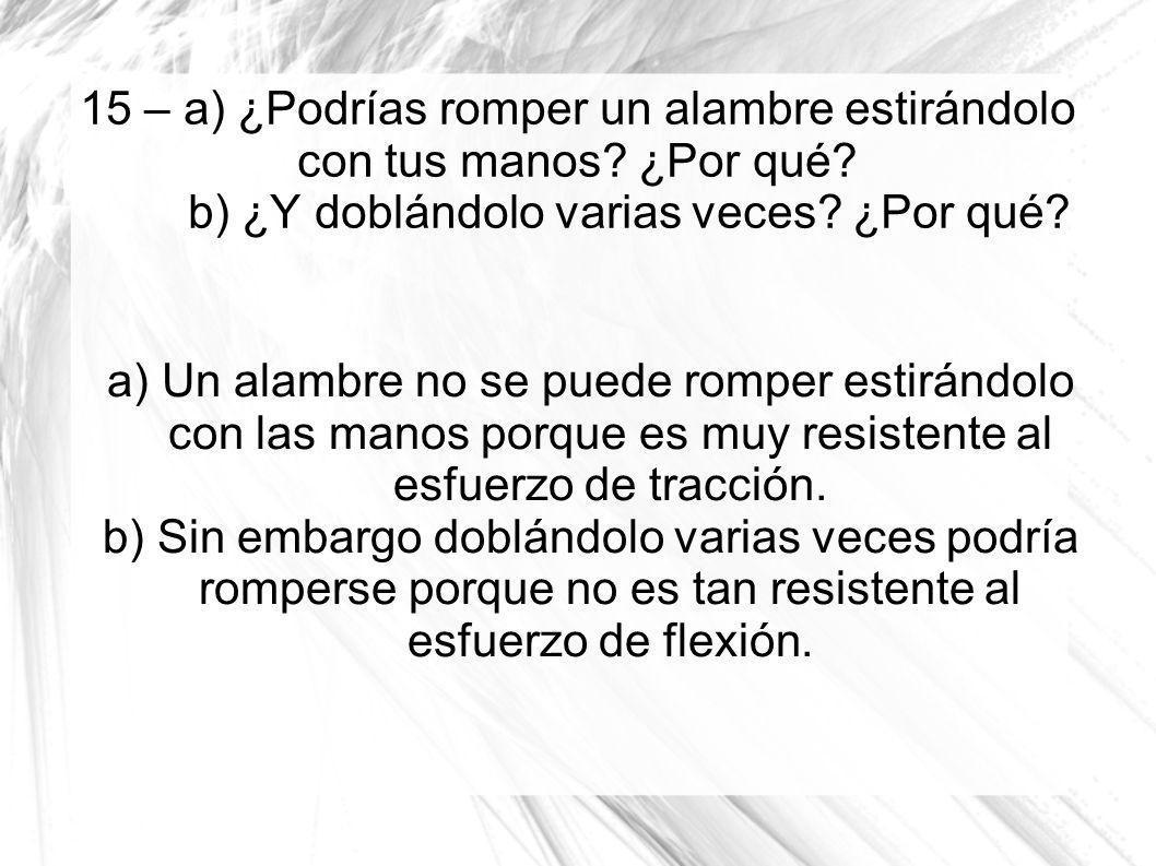 15 – a) ¿Podrías romper un alambre estirándolo con tus manos? ¿Por qué? b) ¿Y doblándolo varias veces? ¿Por qué? a) Un alambre no se puede romper esti