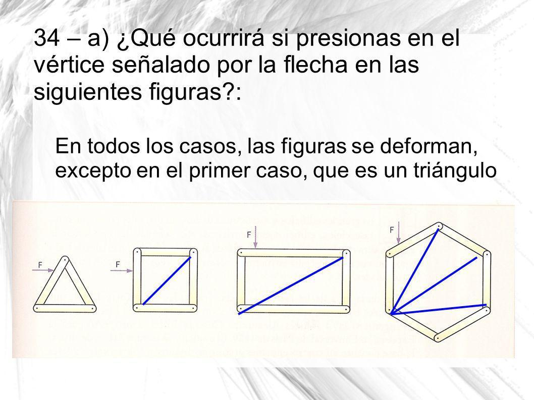34 – a) ¿Qué ocurrirá si presionas en el vértice señalado por la flecha en las siguientes figuras?: En todos los casos, las figuras se deforman, excep