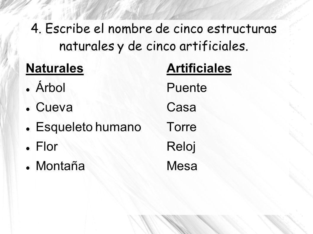 4. Escribe el nombre de cinco estructuras naturales y de cinco artificiales. Naturales Árbol Cueva Esqueleto humano Flor Montaña Artificiales Puente C