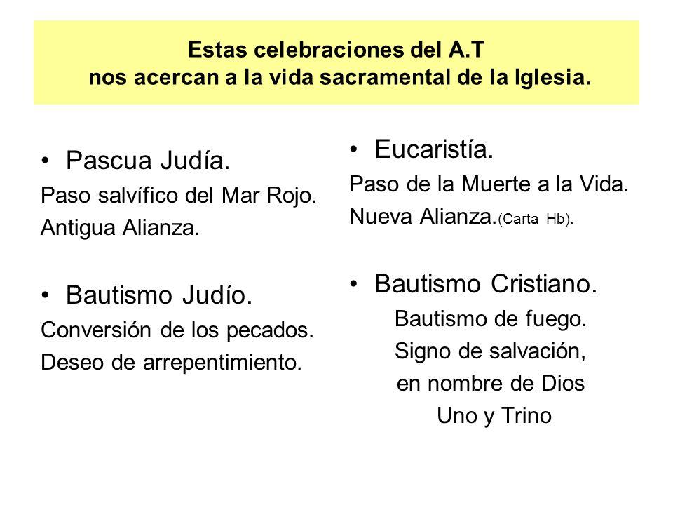 Estas celebraciones del A.T nos acercan a la vida sacramental de la Iglesia. Pascua Judía. Paso salvífico del Mar Rojo. Antigua Alianza. Bautismo Judí