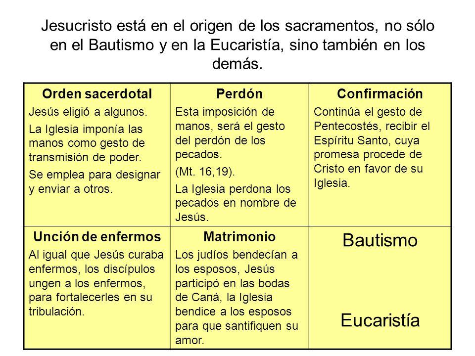 Jesucristo está en el origen de los sacramentos, no sólo en el Bautismo y en la Eucaristía, sino también en los demás. Orden sacerdotal Jesús eligió a