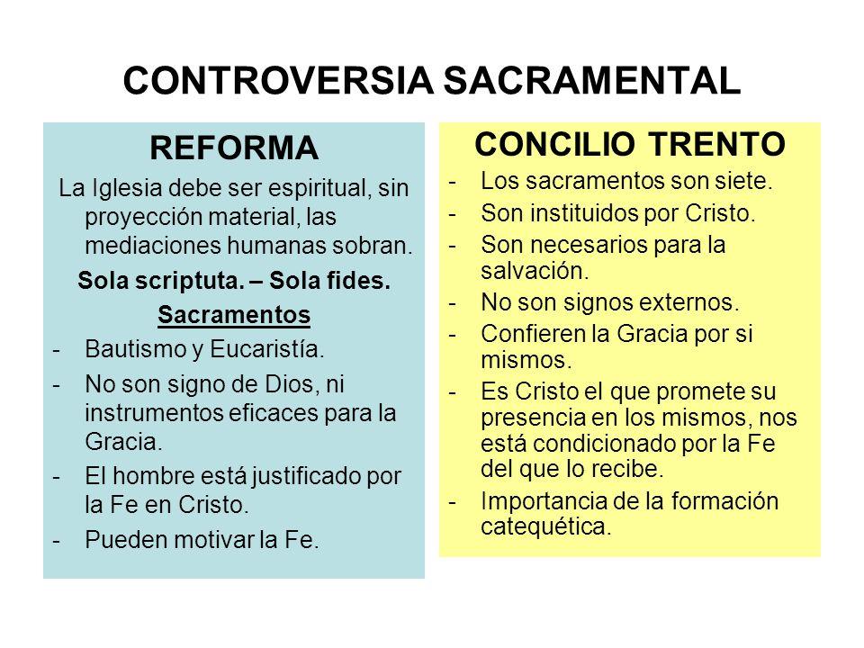 CONTROVERSIA SACRAMENTAL REFORMA La Iglesia debe ser espiritual, sin proyección material, las mediaciones humanas sobran. Sola scriptuta. – Sola fides