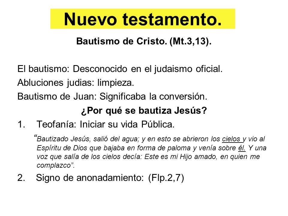 Nuevo testamento. Bautismo de Cristo. (Mt.3,13). El bautismo: Desconocido en el judaismo oficial. Abluciones judias: limpieza. Bautismo de Juan: Signi