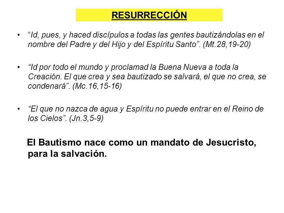 RESURRECCIÓN Id, pues, y haced discípulos a todas las gentes bautizándolas en el nombre del Padre y del Hijo y del Espíritu Santo. (Mt.28,19-20) Id po