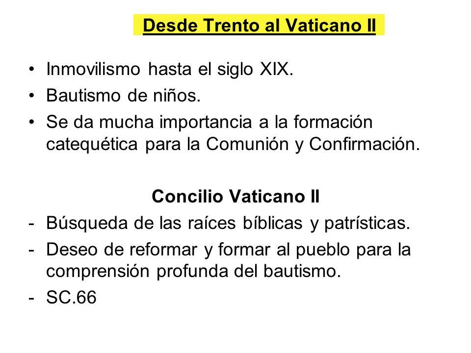 Desde Trento al Vaticano II Inmovilismo hasta el siglo XIX. Bautismo de niños. Se da mucha importancia a la formación catequética para la Comunión y C