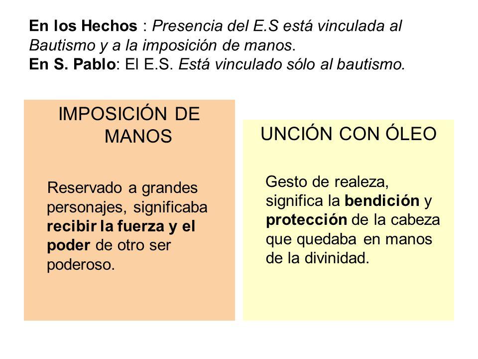 En los Hechos : Presencia del E.S está vinculada al Bautismo y a la imposición de manos. En S. Pablo: El E.S. Está vinculado sólo al bautismo. IMPOSIC