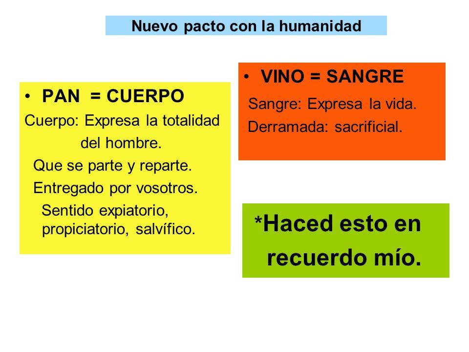 Nuevo pacto con la humanidad PAN = CUERPO Cuerpo: Expresa la totalidad del hombre. Que se parte y reparte. Entregado por vosotros. Sentido expiatorio,
