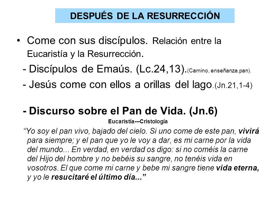 DESPUÉS DE LA RESURRECCIÓN Come con sus discípulos. Relación entre la Eucaristía y la Resurrección. - Discípulos de Emaús. (Lc.24,13). (Camino, enseña