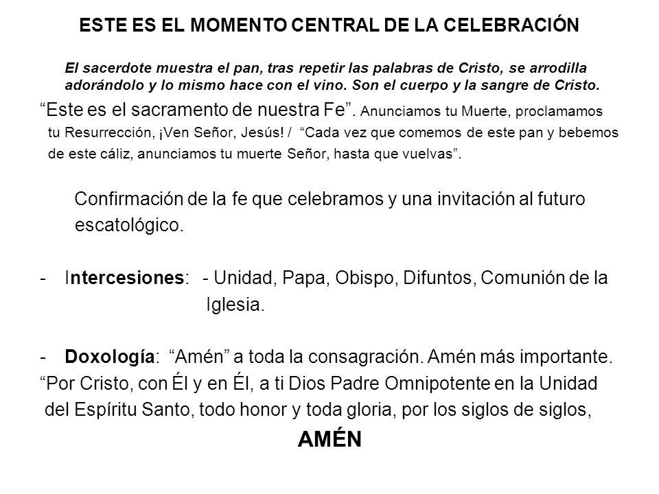 ESTE ES EL MOMENTO CENTRAL DE LA CELEBRACIÓN El sacerdote muestra el pan, tras repetir las palabras de Cristo, se arrodilla adorándolo y lo mismo hace