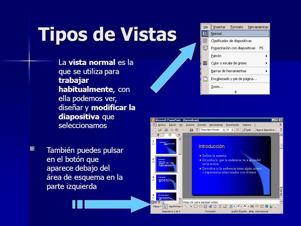 Tipos de Vistas La vista normal es la que se utiliza para trabajar habitualmente, con ella podemos ver, diseñar y modificar la diapositiva que selecci